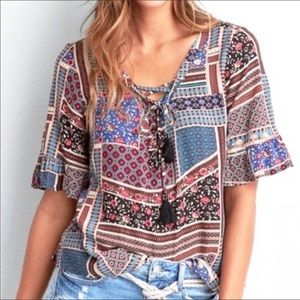 American Eagle Lace Up Bell Sleeve Blouse Size M